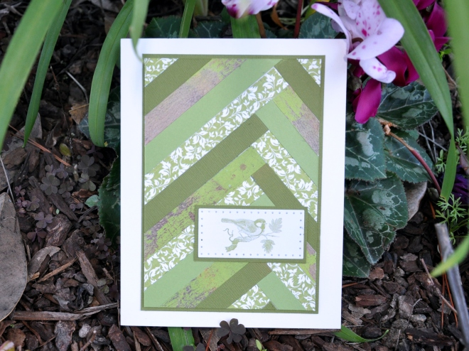 Green strip quilt card