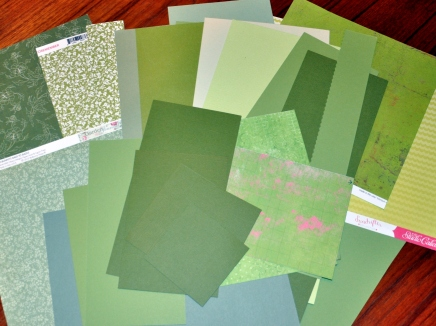 Scraps of green paper