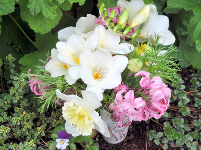 Spring bulb posy