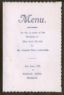 A wedding menu