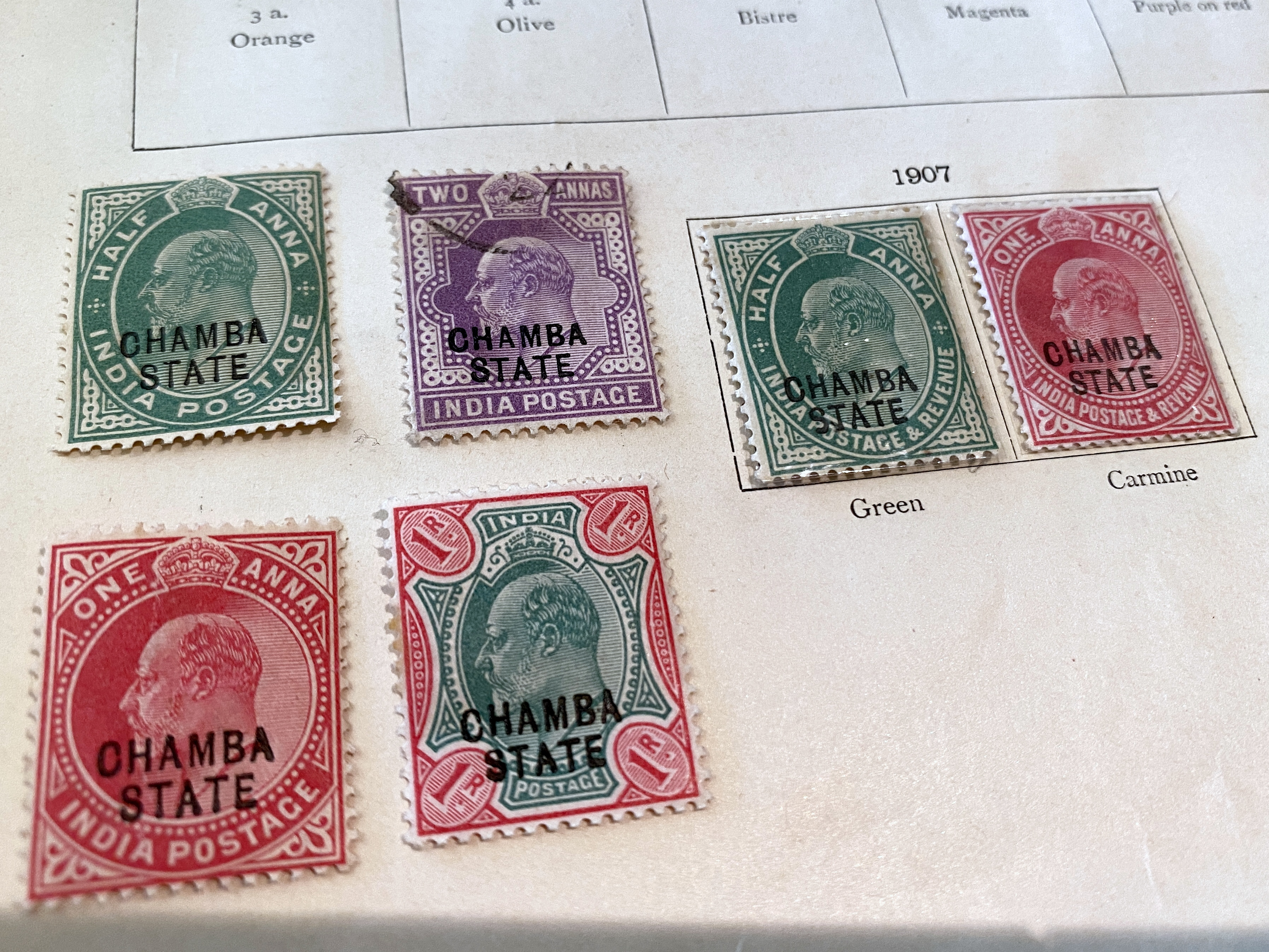Assorted colors postage stamps Chamba State India