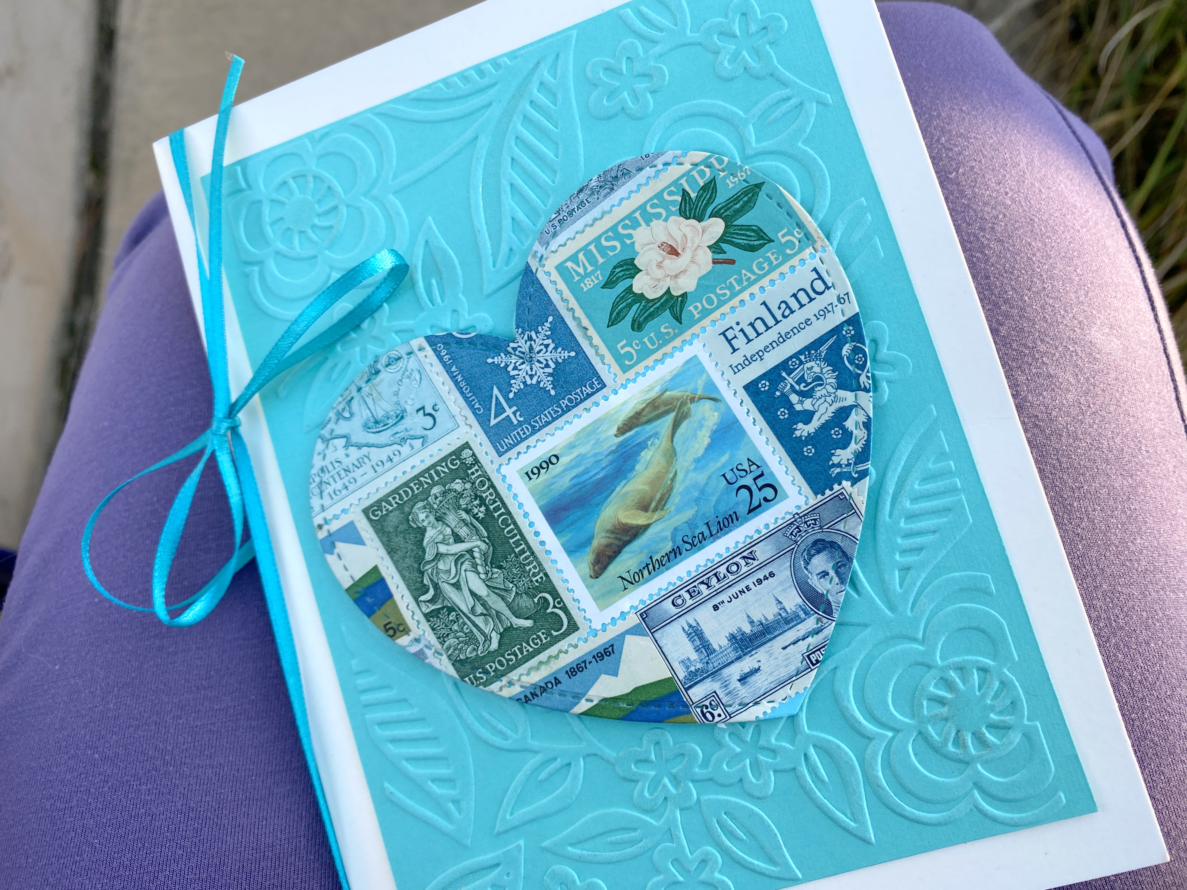teal postage stamp card