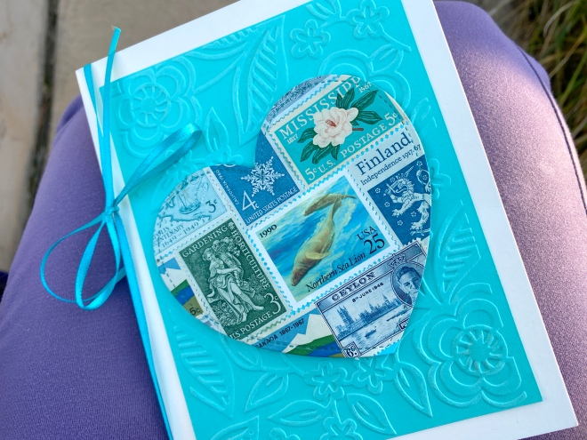 teal postage stamp card