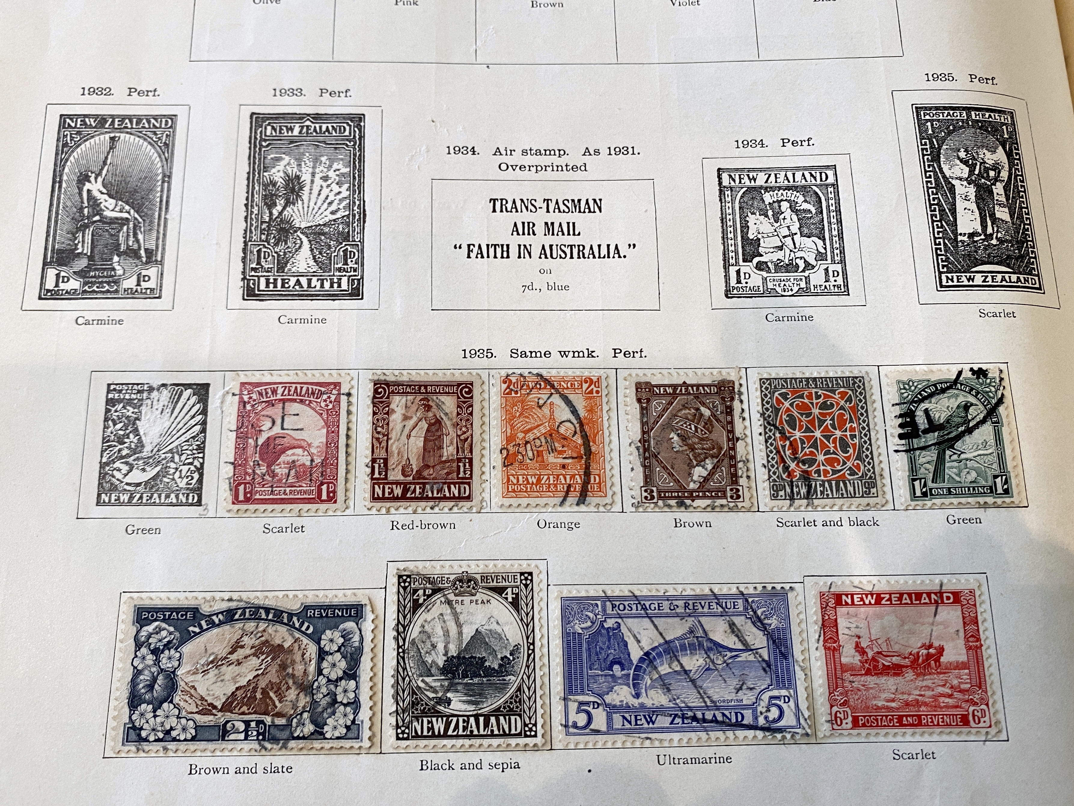 Trans-Tasmanian New Zealand postage stamps