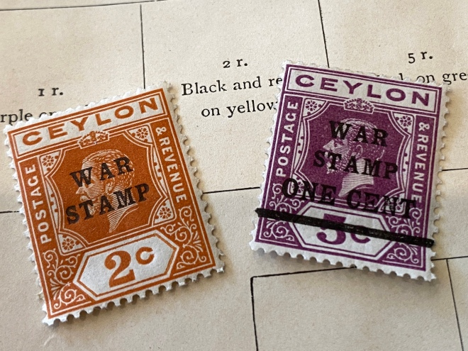 warm stamp Ceylon postage