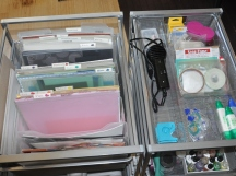 This pair of Elfa drawers store the majority of my paper and tools